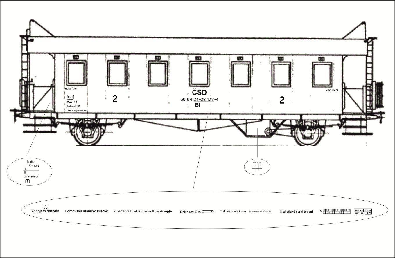 Rozmístění popisek osobního vozu Bi